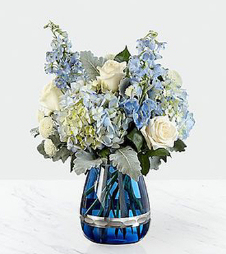 Faithful Guardian Bouquet - Blue and White