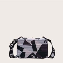 Geometric Pattern Suitcase Shaped Crossbody Bag