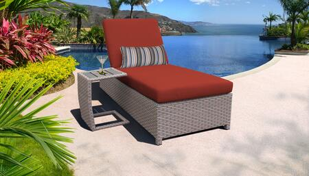 Monterey Collection MONTEREY-W-1x-ST-TERRACOTTA Patio Set with 1 Chaise with Wheels  1 Side Table - Beige and Terracotta