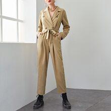 Double Button Belted Fold Pleat Jumpsuit