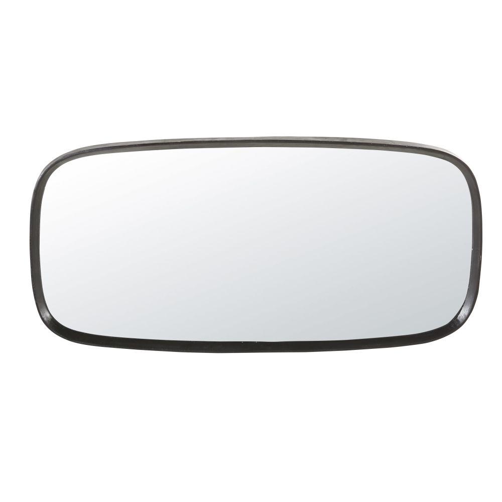 Spiegel mit abgerundeten Kanten aus Metall, schwarz 58x122