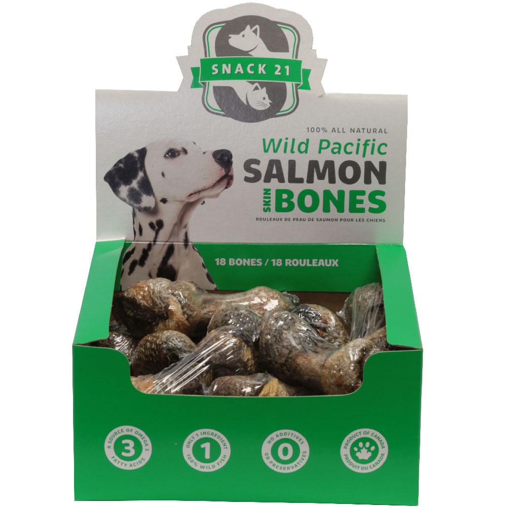 Snack 21 Salmon Skin Bones (Box of 18 Bones)