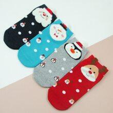 4pairs Christmas Pattern Socks