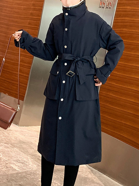 Milanoo Women Cotton Coat Turndown Collar Academic Navy Blue Woolen Winter Coat