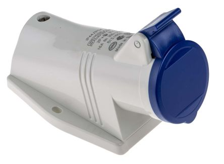 RS PRO IP44 Blue Wall Mount 2P+E Right Angle Industrial Power Socket, Rated At 16.0A, 230.0 V