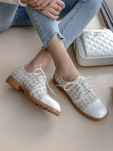Milanoo White Oxfords Women Square Toe Lace Up Casual Shoes