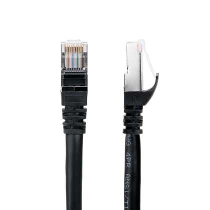 Cat6a SSTP 26AWG 10GB Molded Network Ethernet Patch Cable - Black - PrimeCables® - 75ft