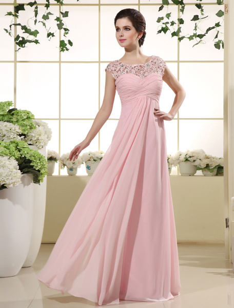Milanoo Pink Prom Dresses 2020 Long Lace Illusion Chiffon Evening Dress Ruched Beading Floor Length Party Dress Wedding Guest Dress  wedding guest dre