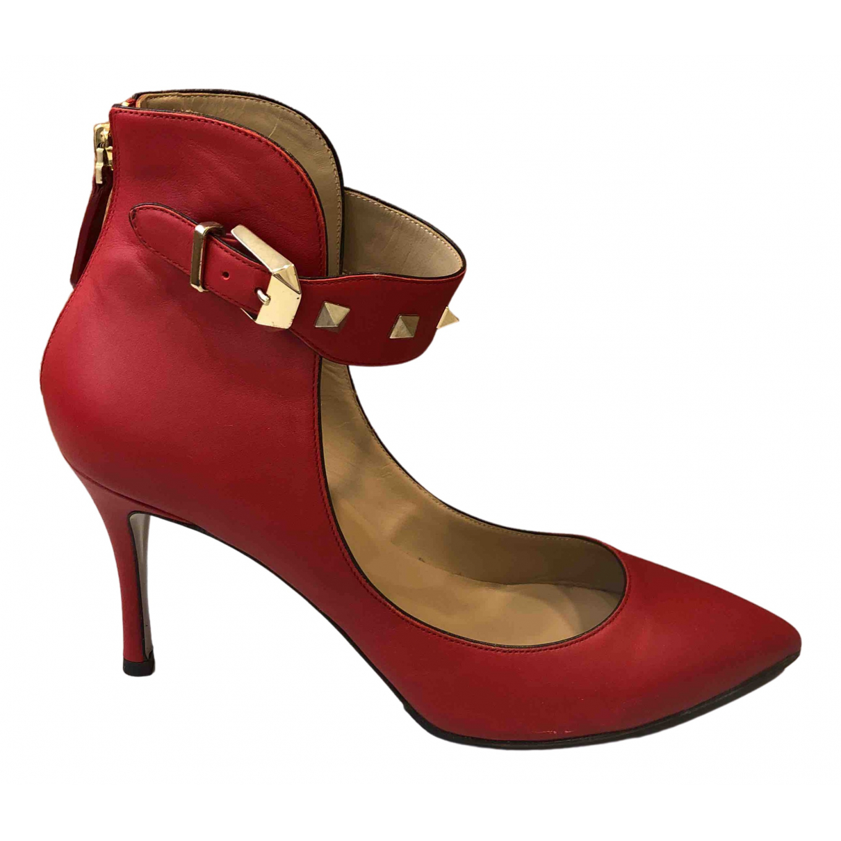 Valentino Garavani \N Red Leather Heels for Women 38.5 IT