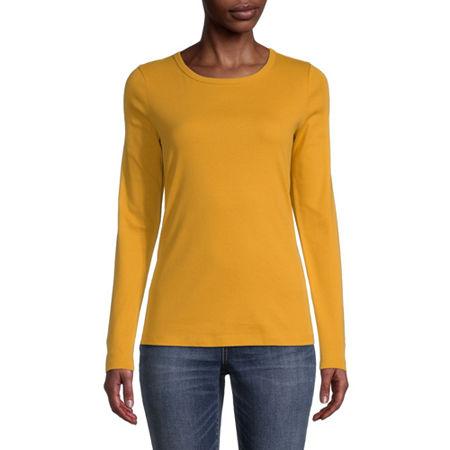 St. John's Bay-Womens Long Sleeve T-Shirt, Petite X-large , Yellow