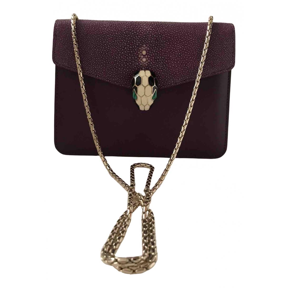 Bvlgari - Sac a main Serpenti pour femme en galuchat - violet