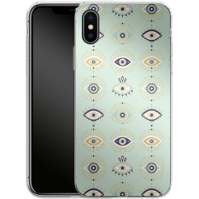 Apple iPhone X Silikon Handyhuelle - Evil Eyes Mint von Cat Coquillette