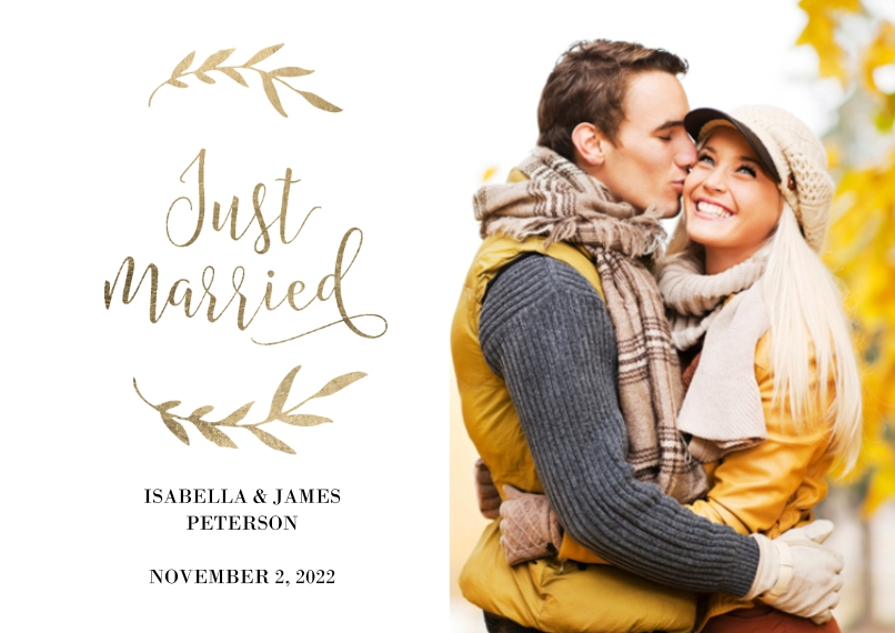 Just Married 5x7 Cards, Premium Cardstock 120lb with Elegant Corners, Card & Stationery -Wedding Just Married Laurels by Tumbalina
