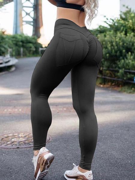 Milanoo Gym Leggings Natural Waist Elastic Workout Leggings