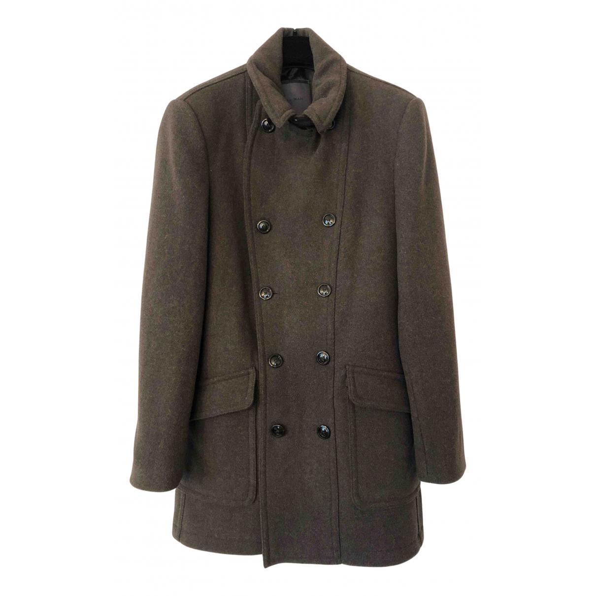 Zara - Manteau   pour homme en laine - kaki