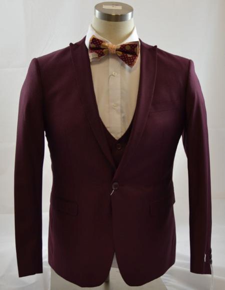 Mens 1Button Peak Lapel Vest Burgundy 3Piece Suits Slim Fit Tapper Cut