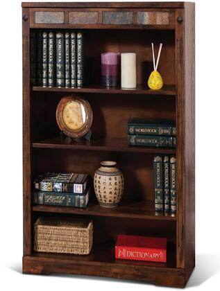Santa Fe Collection 2952DC2-48 48 Bookcase with 3 Shelves  Clean Line Design  Fluted Pilasters and Wood Construction in Dark