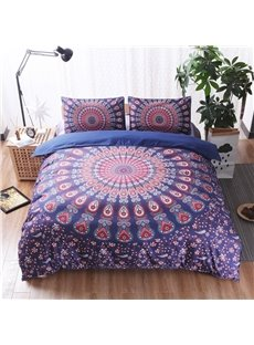 Fuchsia Mandala Pattern Bohemian Style Polyester 3-Piece Bedding Sets/Duvet Cover