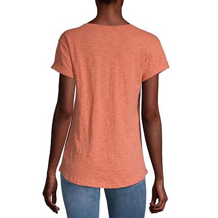 a.n.a-Womens Round Neck Short Sleeve T-Shirt, Petite Medium , Orange