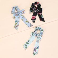 3 Stuecke Scrunchie Schal mit Bluemchen Muster