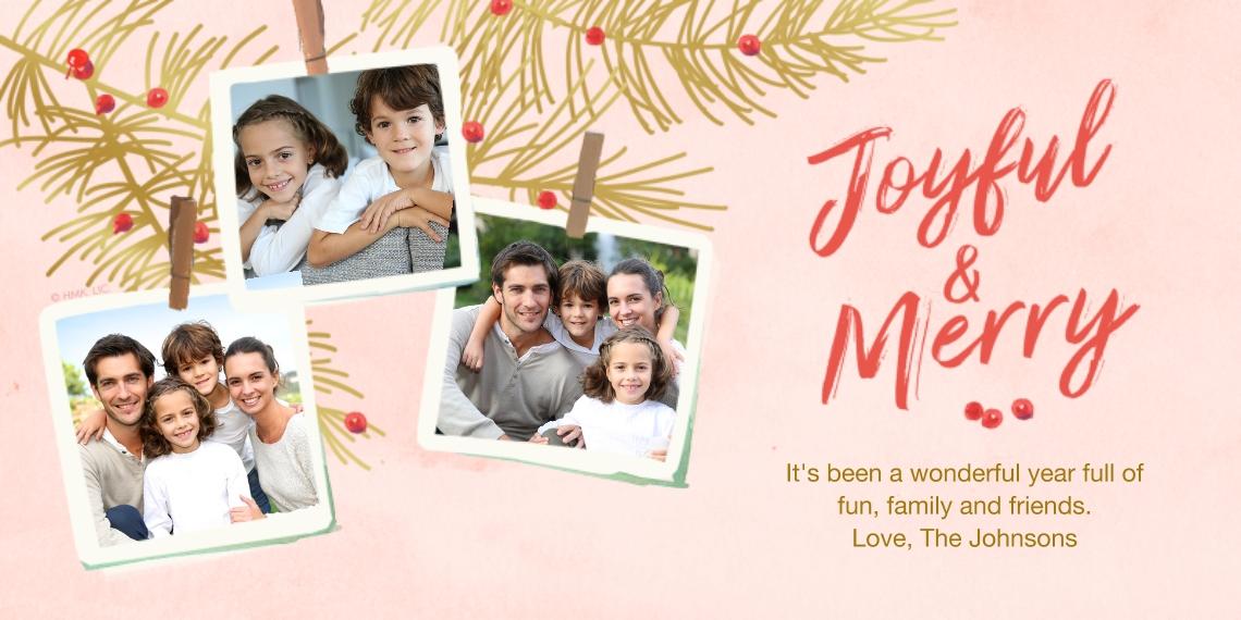 Christmas Photo Cards 4x8 Flat Card Set, 85lb, Card & Stationery -Joyful & Merry Snapshots by Hallmark by Hallmark