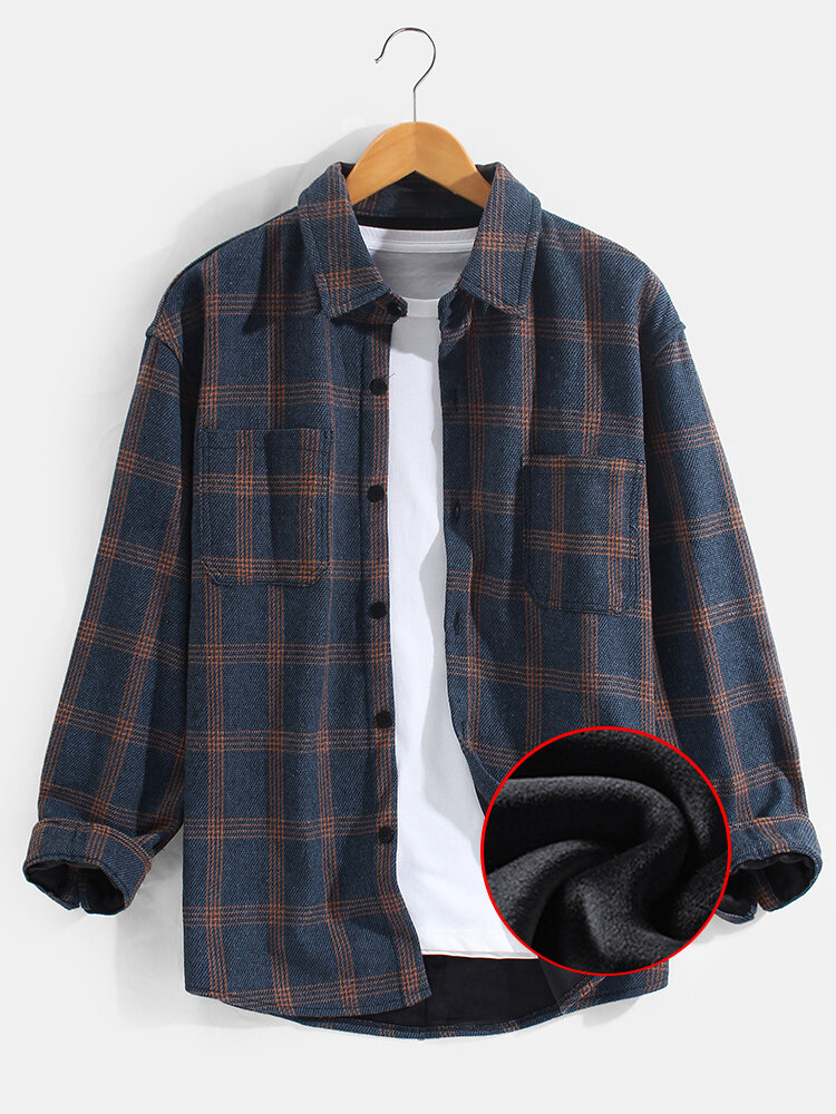 Mens Plus Velvet Plaid Warm Thick Casual Lapel Long Sleeve Shirts Jackets With Pocket