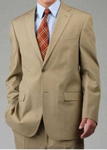 Mens Two Button Suit Camel