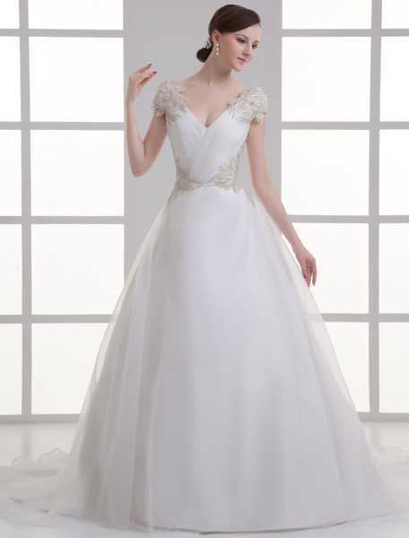 Milanoo Ivory V-Neck Off-The-Shoulder Beading Organza Wedding Gown