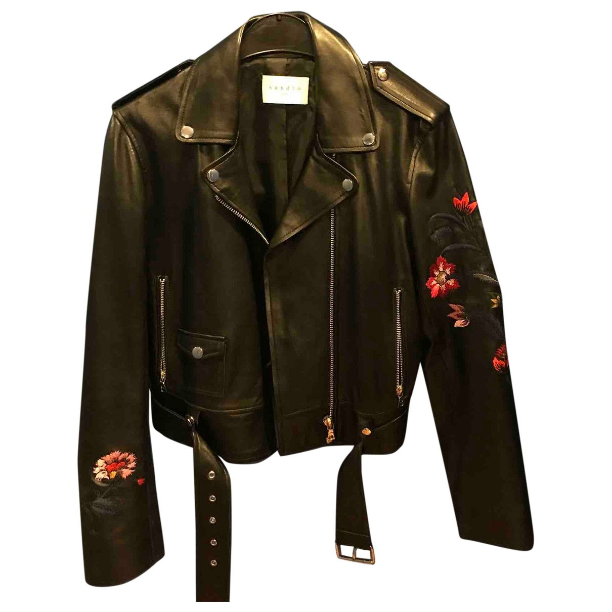 Sandro \N Black Leather jacket for Women 3 0-5