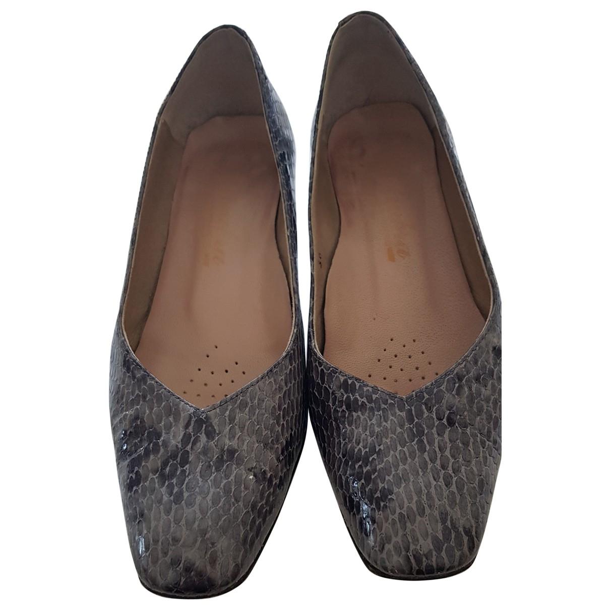 - Escarpins   pour femme en cuir - gris