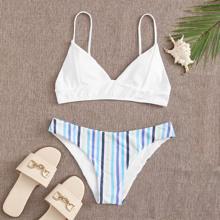 Striped Seam Detail Bikini Swimsuit