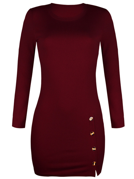 Yoins Button Front Crew Neck Long Sleeves Dress