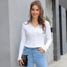 Kate Kasin Lace Trim Frilled Rib-knit Cardigan