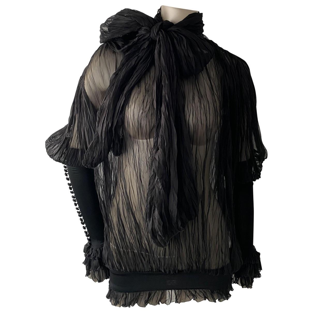 Gianfranco Ferre - Top   pour femme en soie - noir