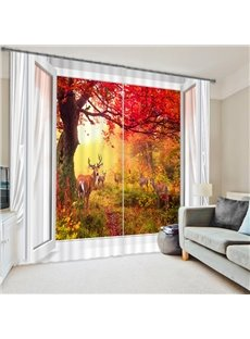 Wonderful Nature Scenery Red Leaves Printing Custom 3D Curtain for Living Room