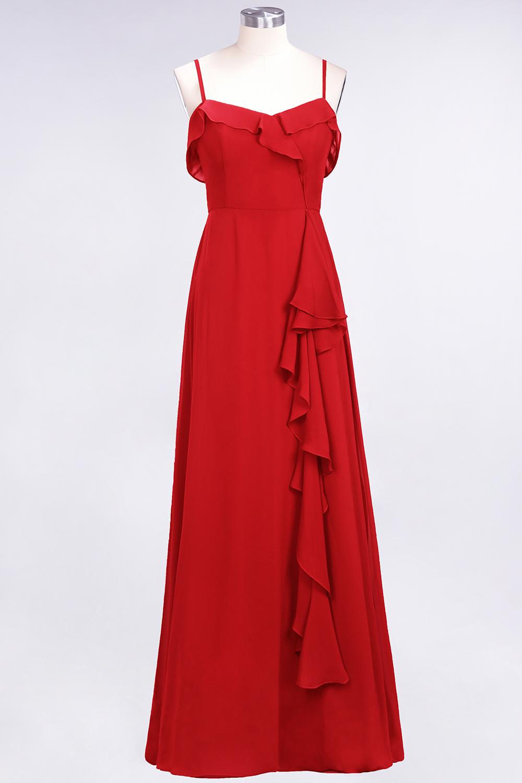 BMbridal Elegant Spaghetti Straps Ruffle Burgundy Chiffon Dresses Affordable