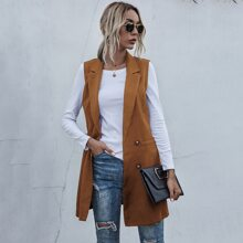 Lapel Neck Double Breasted Belted Vest