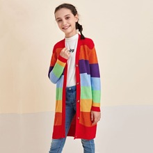 Strickjacke mit Regenbogen Streifen, Taschen vorne und Knopfen