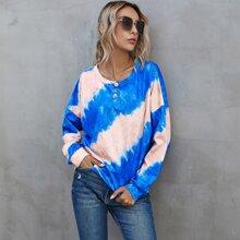 Sweatshirt mit Batik und sehr tief angesetzter Schulterpartie