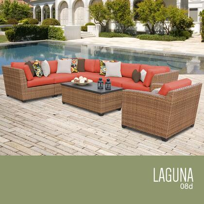 LAGUNA-08d-TANGERINE Laguna 8 Piece Outdoor Wicker Patio Furniture Set 08d with 2 Covers: Wheat and