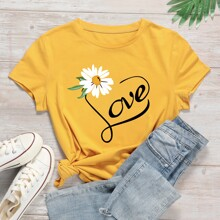 Floral And Letter Graphic Tee