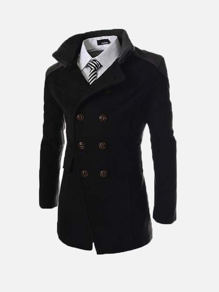 Mens Solid Double Breasted Mid-Long Thicken Coat