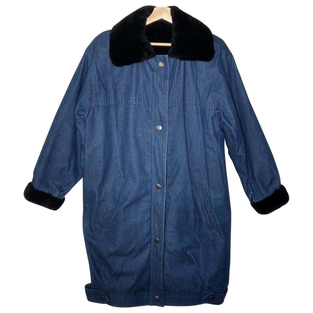 Non Signé / Unsigned Oversize Blue Rabbit coat for Women L International