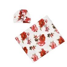 Decke mit Blumen Muster, Wickel Design & Hut Foto Outfit
