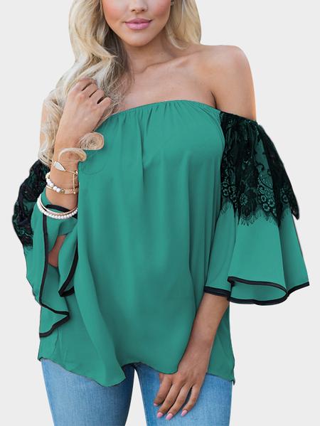 Yoins Green Lace Insert Off Shoulder Lantern Sleeves Blouse