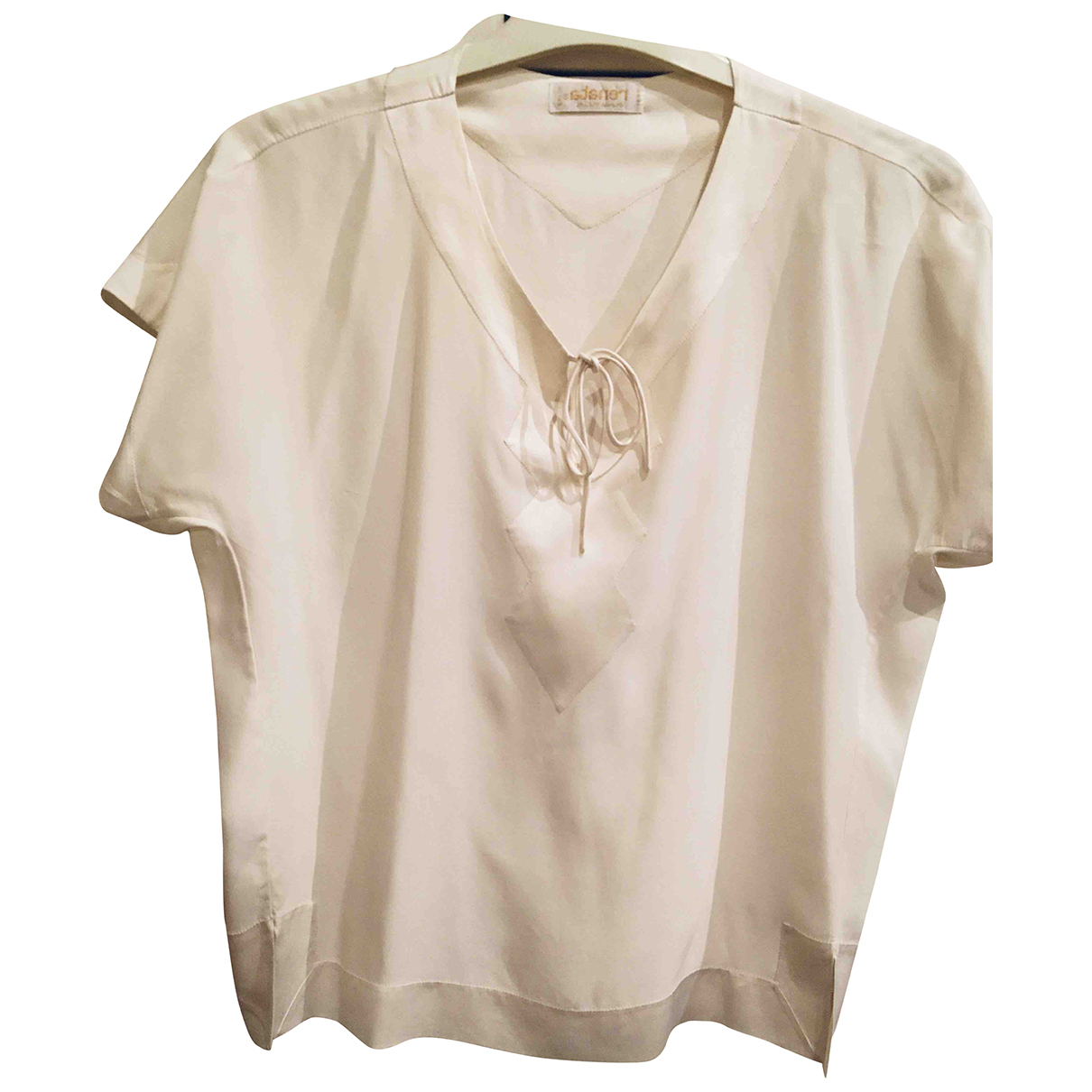 Non Signé / Unsigned N Ecru Silk  top for Women 38 FR
