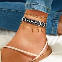 Leaf Charm & Tribal Braided Anklet 3pcs