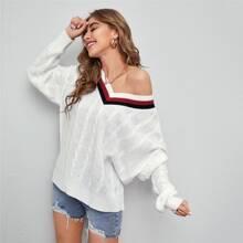 Drop Shoulder V Neck Cable Knit Sweater