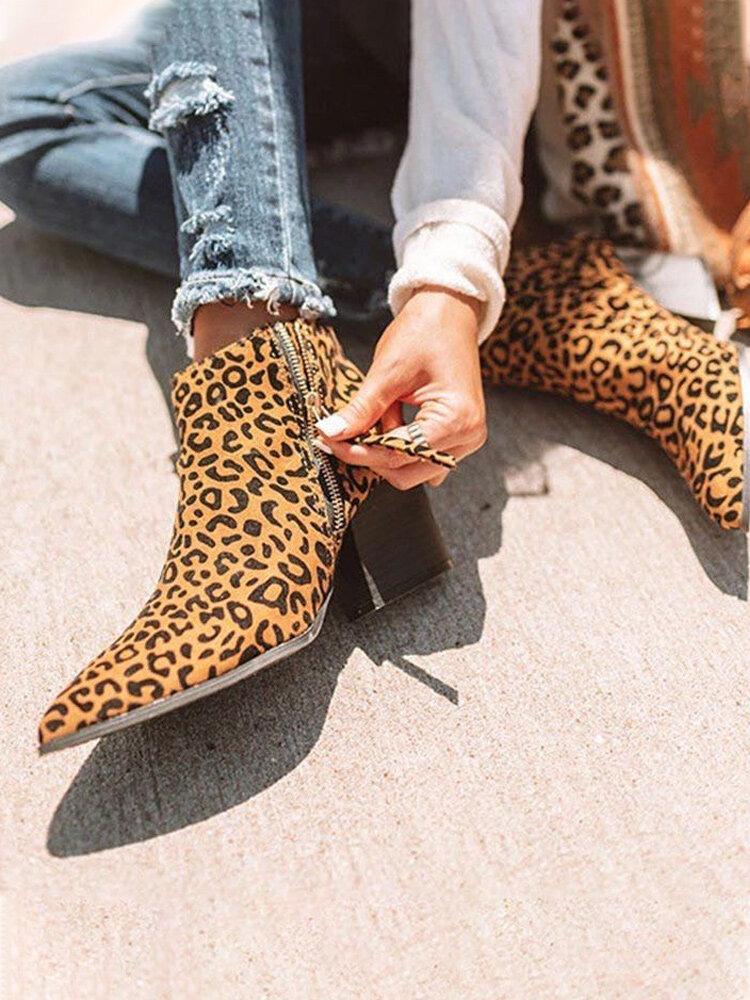 Plus Size Women Animal Print Zipper Chunky Heel Ankle Boots