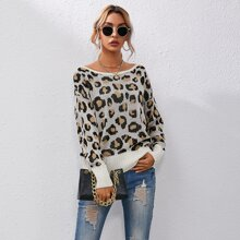 Pullover mit Drop Shoulder, Band hinten und Leopard Muster